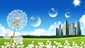 City Dandelions And Bubbles Hd Art Wallpaper Image High Quality