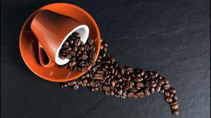 Coffee Beans Ceramic Mug And Saucer Free Photo Wallpaper