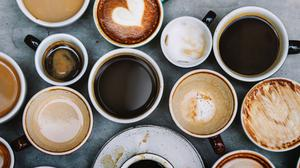 Top View Of Mugs Filled With Coffees Wallpaper Download Free