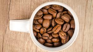 Roasted Coffee Beans Inside White Mug Download HQ Wallpaper