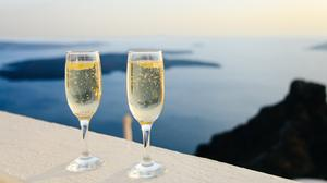 Two Wine Drink Glasses With Sparkling Bubbles Free HD Image
